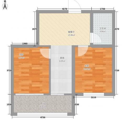 明光水岸2室1厅1卫0厨45.27㎡户型图