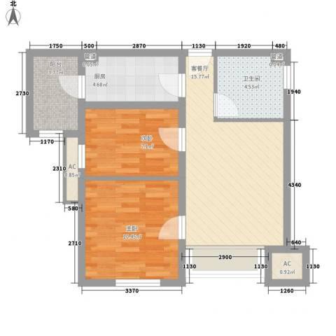 新梅江雅境新枫尚2室1厅1卫1厨75.00㎡户型图