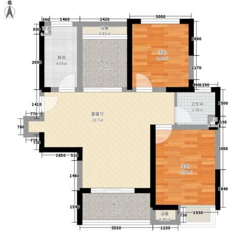 书香门第2室1厅1卫1厨82.00㎡户型图