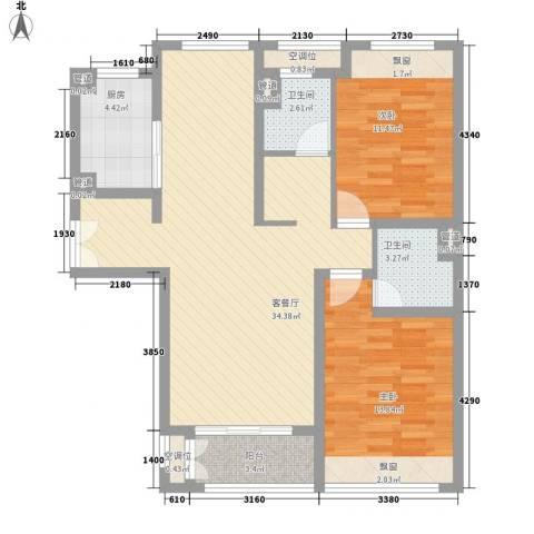 海上硕和城2室1厅2卫1厨110.00㎡户型图