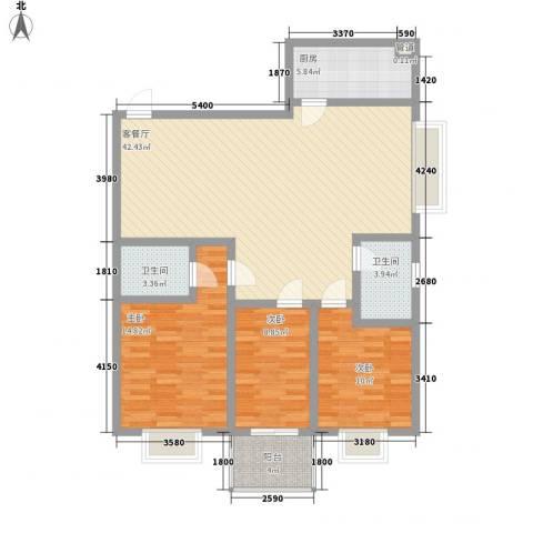 紫薇苑3室1厅2卫1厨112.00㎡户型图