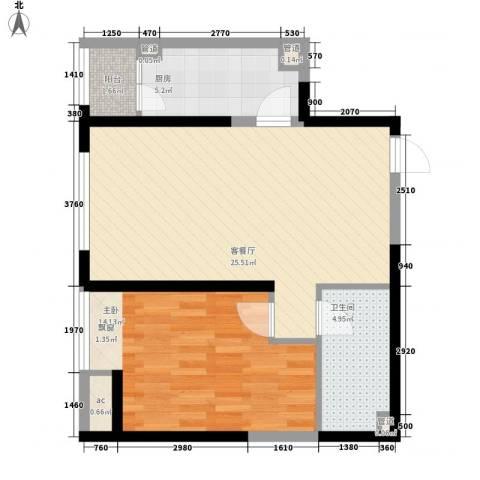 华业东方玫瑰1室1厅1卫1厨75.00㎡户型图