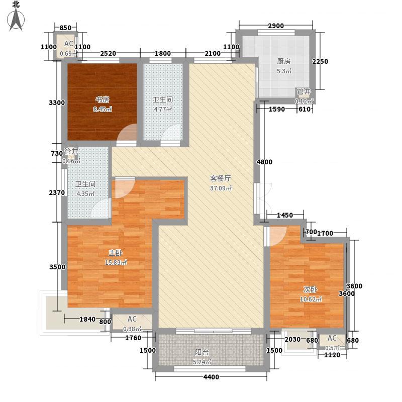 锦绣河山136.60㎡1-4#F户型3室2厅2卫1厨