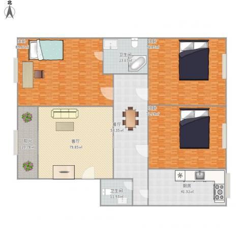 国际大都会3室2厅2卫1厨613.00㎡户型图