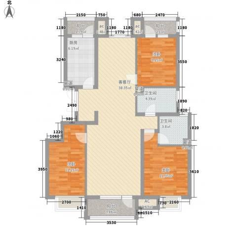 金融街・金色漫香郡3室1厅2卫1厨137.00㎡户型图