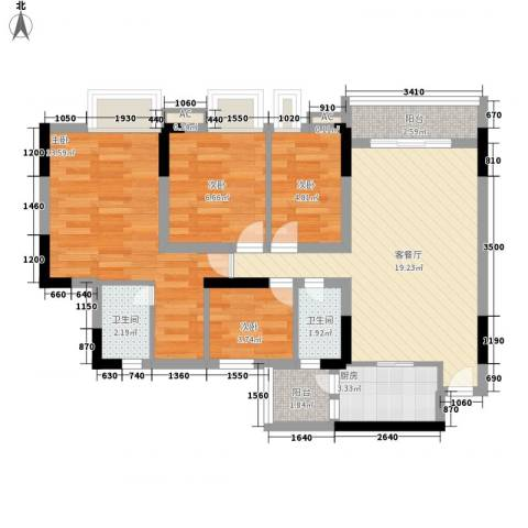 逸涛居4室1厅2卫1厨90.00㎡户型图