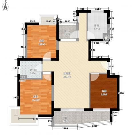 蔚蓝城市花园3室0厅1卫1厨111.00㎡户型图