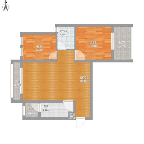 银溪春墅2室1厅1卫1厨88.00㎡户型图