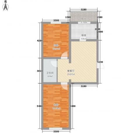 世代锦绣园2室1厅1卫1厨87.00㎡户型图