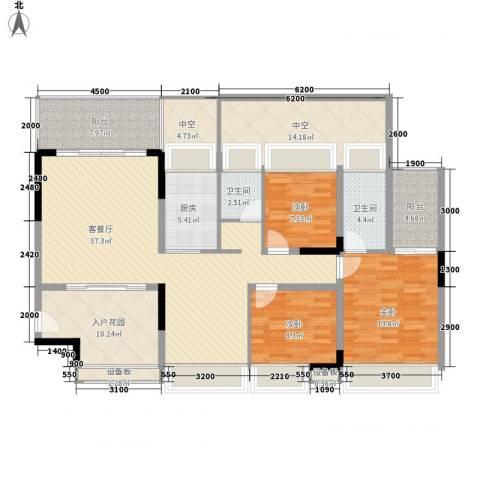红棉雅苑3室1厅2卫1厨123.00㎡户型图