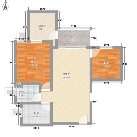 伍仙花园2室0厅1卫1厨86.00㎡户型图
