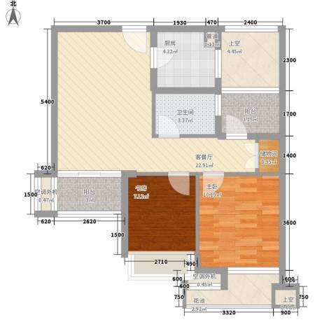 万年乐享世界2室1厅1卫1厨95.00㎡户型图