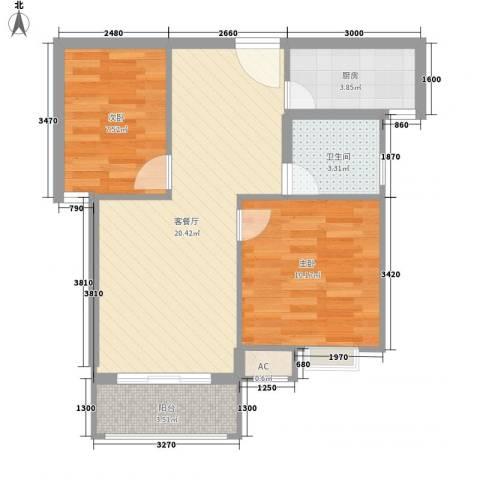 云海观澜2室1厅1卫1厨70.00㎡户型图
