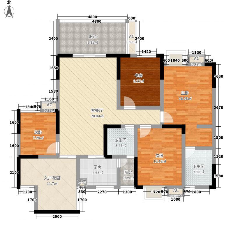 公园榕郡139.35㎡二期标准层E-4观景洋房户型3室2厅2卫1厨