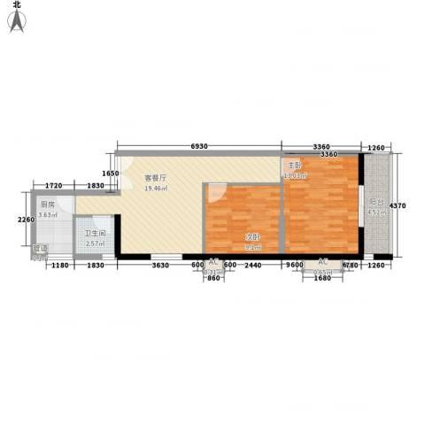 海钻凤凰城2室1厅1卫1厨77.00㎡户型图