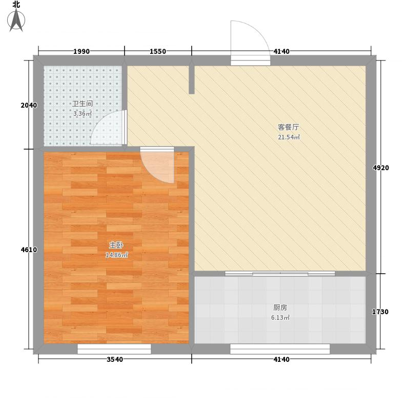 东升江郡63.37㎡使用面积3902户型1室2厅1卫1厨