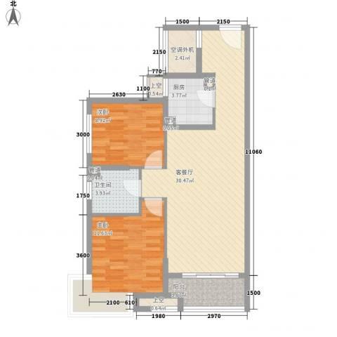 万年乐享世界2室1厅1卫1厨96.00㎡户型图