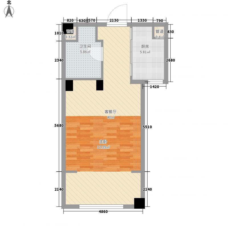 绿城�园户型图�悦A2户型 1室1厅1卫1厨