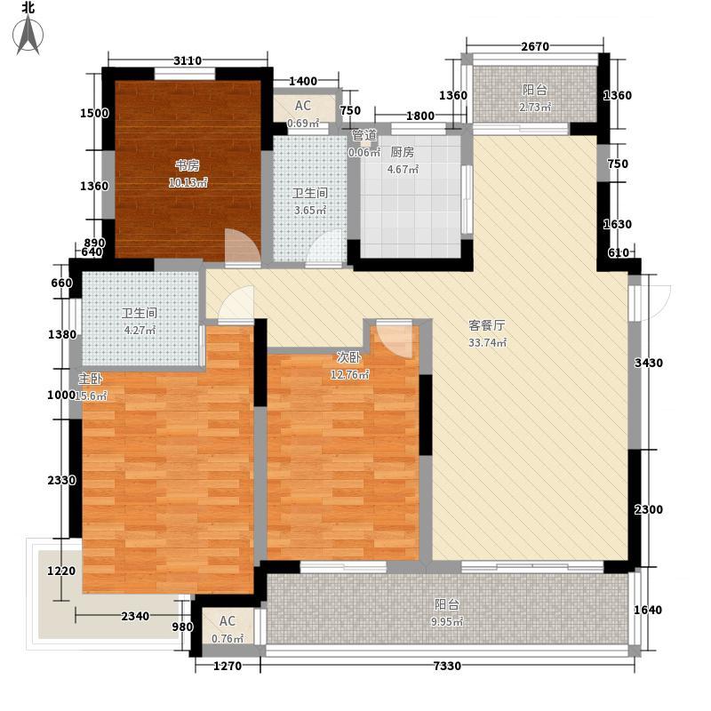 御城143.00㎡21#楼D户型3室2厅2卫1厨