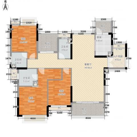 方直星耀国际3室1厅3卫1厨192.00㎡户型图