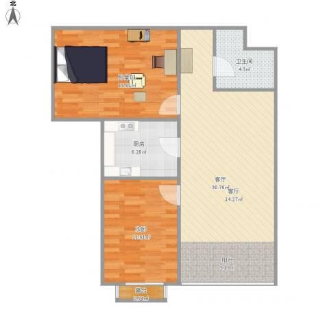 合生珠江罗马嘉园1室1厅1卫1厨95.00㎡户型图