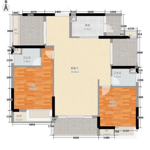 方直星耀国际2室1厅2卫1厨152.00㎡户型图