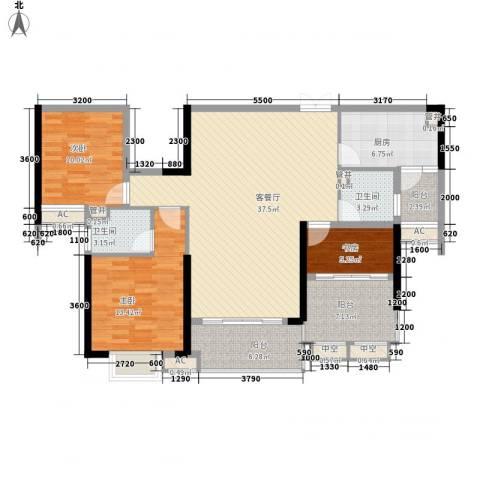方直星耀国际3室1厅2卫1厨142.00㎡户型图