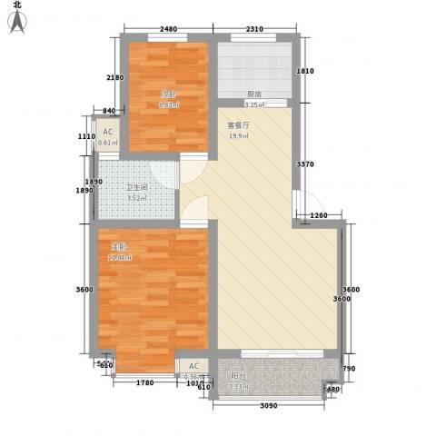 湖岸名家2室1厅1卫1厨72.00㎡户型图