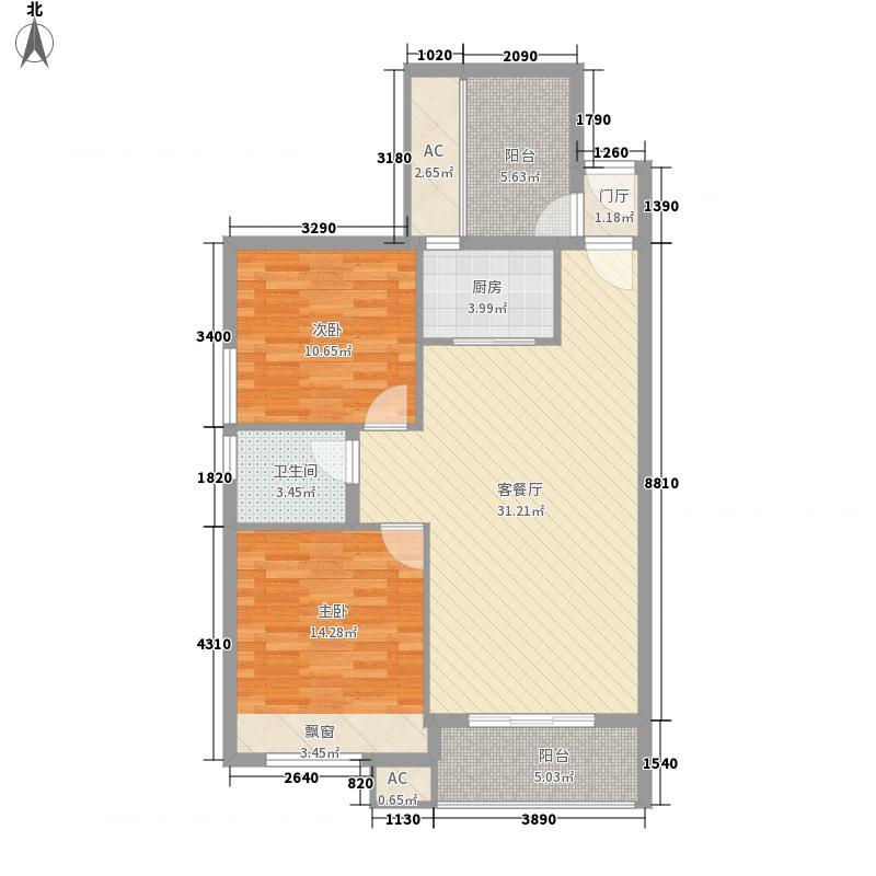 泉舜泉水湾8.60㎡10#楼B单元户型2室2厅1卫1厨