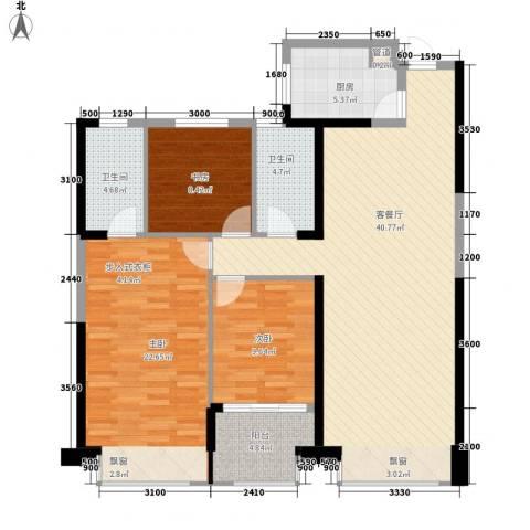 置地广场3室1厅2卫1厨141.00㎡户型图