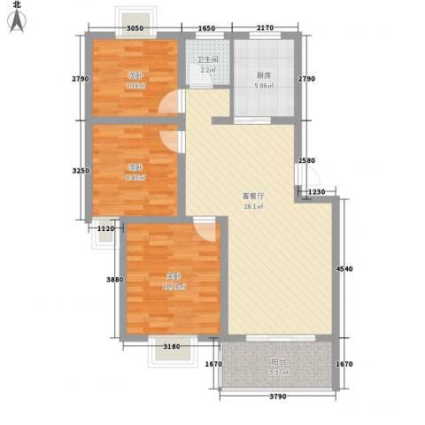 宇扬雨花石文化园3室1厅1卫1厨94.00㎡户型图