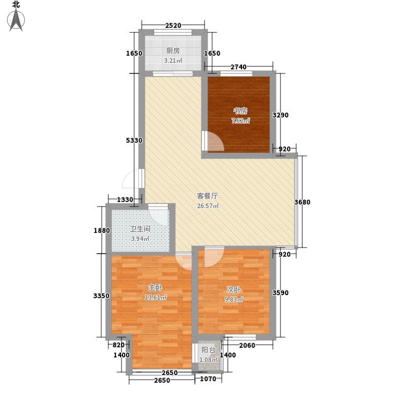 水岸聆风89.53㎡户型3室2厅1卫1厨