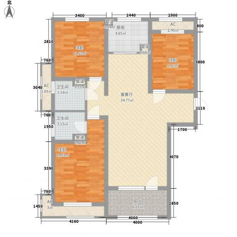 紫林湾3室1厅2卫1厨135.00㎡户型图