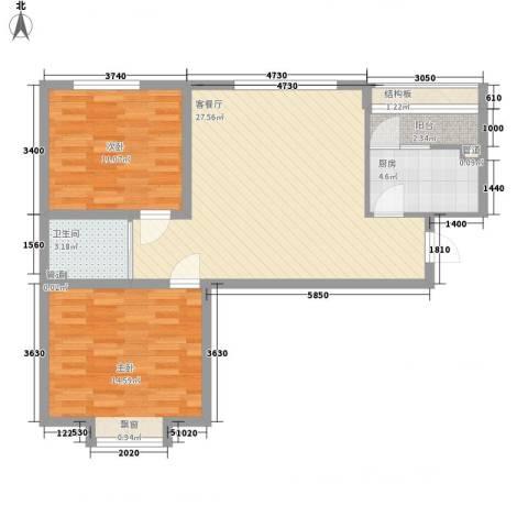 国信嘉邑2室1厅1卫1厨92.00㎡户型图