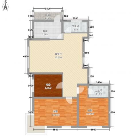 秋实e景二期3室1厅2卫1厨130.00㎡户型图