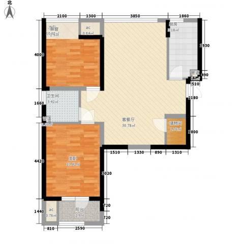 华业东方玫瑰2室1厅1卫1厨100.00㎡户型图
