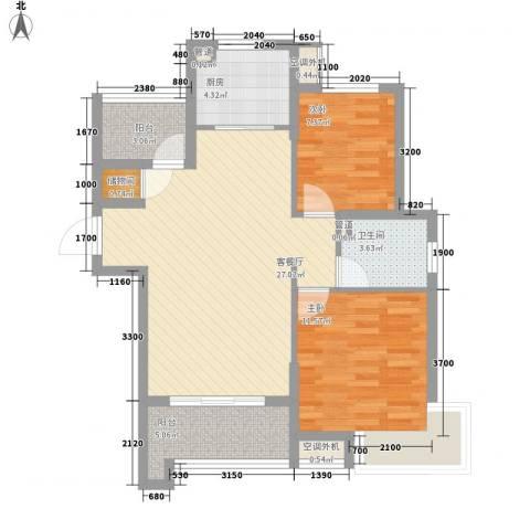 万年乐享世界2室1厅1卫1厨93.00㎡户型图