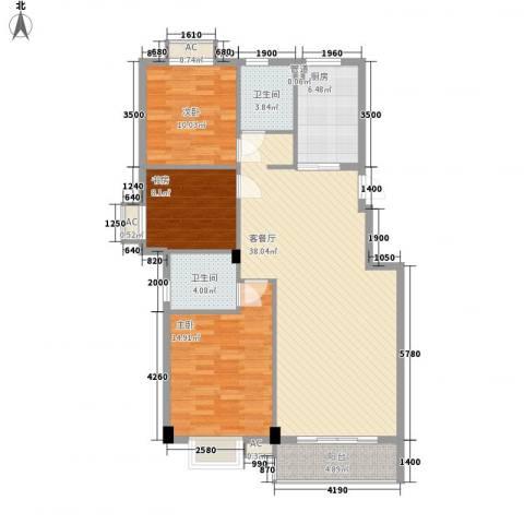 江南华庭3室1厅2卫1厨129.00㎡户型图