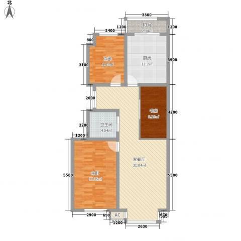 秋实e景二期3室1厅1卫1厨117.00㎡户型图