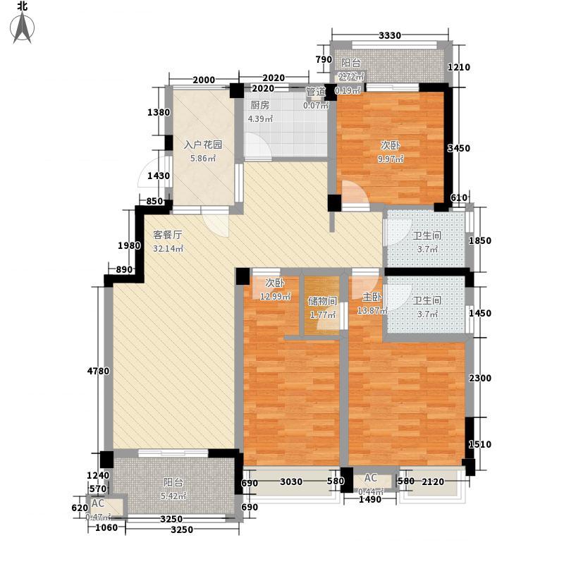 绿地运河纪户型图一期GC3户型 3室2厅2卫1厨