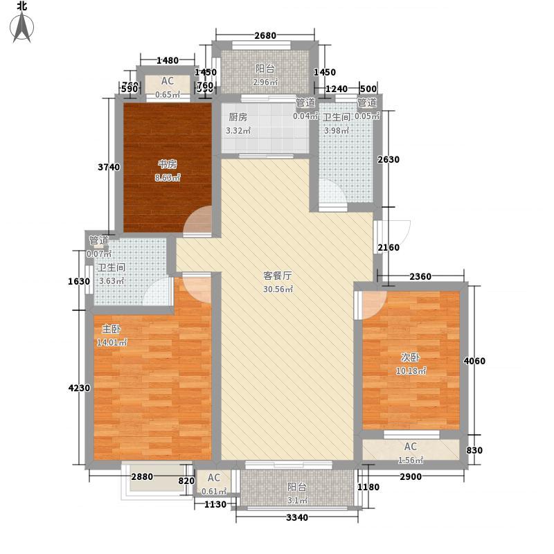 大悦新城122.00㎡大悦新城户型图户型C13室2厅2卫1厨户型3室2厅2卫1厨