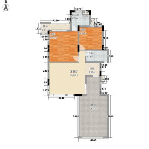 保利林语2室1厅2卫0厨133.00㎡户型图