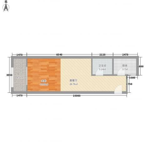 金色城市1厅1卫1厨54.00㎡户型图