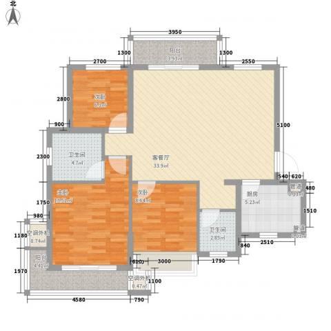 万年乐享世界3室1厅2卫1厨122.00㎡户型图