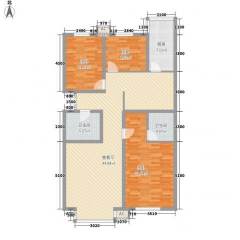 秋实e景二期3室1厅2卫1厨135.00㎡户型图