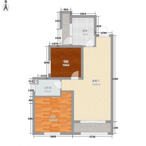 三丰中心思想2室1厅1卫1厨86.00㎡户型图