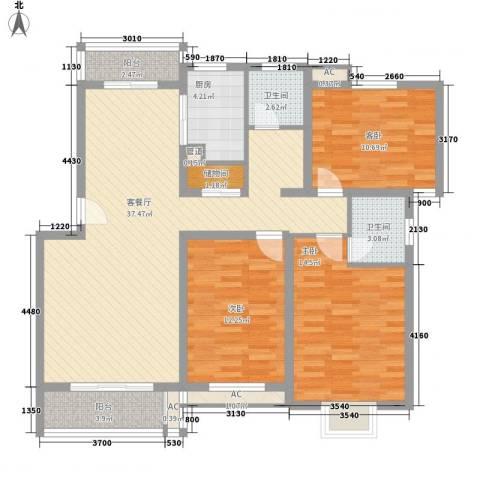 天奇盛世豪庭3室1厅2卫1厨137.00㎡户型图