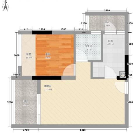 中惠阳光国际商城1室1厅1卫1厨67.00㎡户型图