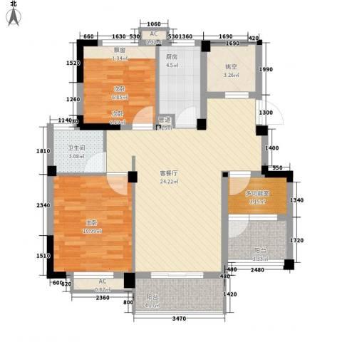 绿地运河纪2室1厅1卫1厨97.00㎡户型图