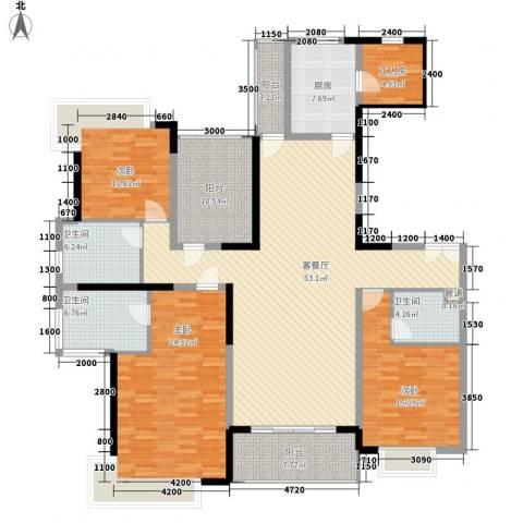 锦绣山河四期3室1厅3卫1厨218.00㎡户型图